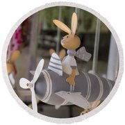Rabbits Can Fly Round Beach Towel