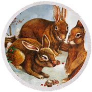 Rabbits In Snow Round Beach Towel