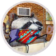 Raccoon On The Wall Round Beach Towel