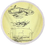 Race Car Track With Race Car Retaining Means Patent 1968 Round Beach Towel