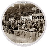 Race Cars Crown Point Indiana June 19 1909 Round Beach Towel