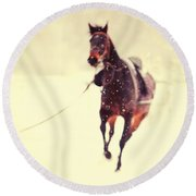 Race In The Snow Round Beach Towel