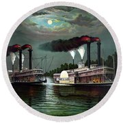 Race Of The Steamers Robert E Lee And Natchez Round Beach Towel