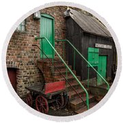 Racecourse Colliery  Round Beach Towel by Adrian Evans