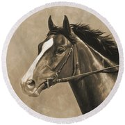 Racehorse Painting In Sepia Round Beach Towel