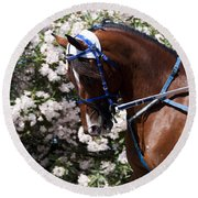 Racing Horse  Round Beach Towel