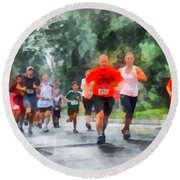 Racing In The Rain Round Beach Towel by Susan Savad