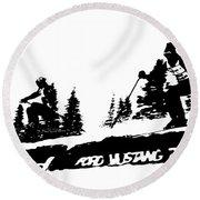 Racing Over The Ski Jump Round Beach Towel