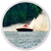 Racing Speed Boat Round Beach Towel