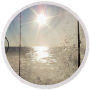 Racing To The Fishing Grounds Round Beach Towel
