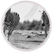 Racing Zebras Round Beach Towel