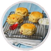 Rack Of Scones Round Beach Towel