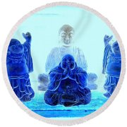 Radiant Buddhas Round Beach Towel
