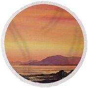 Radiant Island Sunset Round Beach Towel