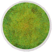 Radiation With Green Yellow And Orange  Round Beach Towel