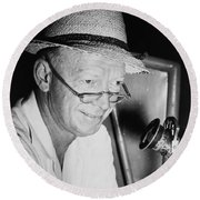 Radio Broadcaster Red Barber 1955 Round Beach Towel