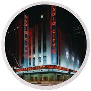 Radio City Music Hall In New York City Round Beach Towel