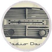Radio Days Round Beach Towel by Edward Fielding