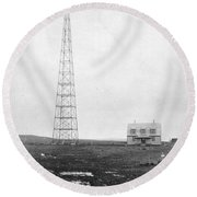 Radio Station, 1916 Round Beach Towel