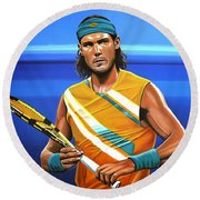 Rafael Nadal Round Beach Towel by Paul Meijering