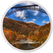 Rafting Down The New River Gorge Round Beach Towel