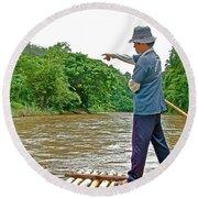Rafting Guide On Mae Thang River Near Chiang Mai-thailand Round Beach Towel