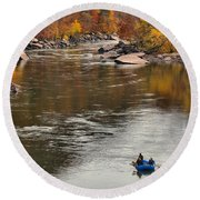Rafting The New River Round Beach Towel