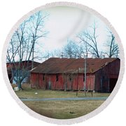 Ragged Red Shed I Round Beach Towel