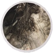 Raging, Wotan Rides To The Rock! Like Round Beach Towel by Arthur Rackham