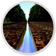Rail Line Round Beach Towel