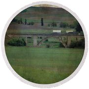 Railroad Bridge At Rosalia Texture Round Beach Towel