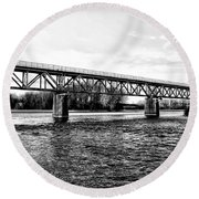 Railroad Bridge Over The Schuylkill River In Norristown Round Beach Towel