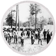 Railroad Camp, 1880s Round Beach Towel