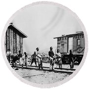 Railroad Chinese Workers Round Beach Towel