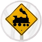 Railroad Crossing Steam Engine Roadsign On White Round Beach Towel