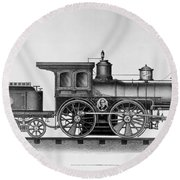 Railroad Engine, C1874 Round Beach Towel