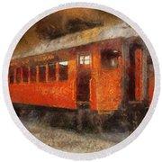 Railroad Gary Flyer Photo Art 02 Round Beach Towel