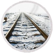 Railroad In Snow Round Beach Towel