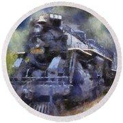 Railroad Locomotive 639 Type 2 8 2 Photo Art Round Beach Towel