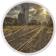 Railroad Sunrise Round Beach Towel