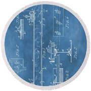 Railroad Tie Patent On Blue Round Beach Towel
