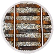 Railroad Track With Gravel 2 Round Beach Towel