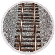 Railroad Track With Gravel Bed Round Beach Towel