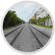 Railroad Tracks Round Beach Towel