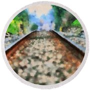 Railroad Tracks In The Summer Heat Round Beach Towel