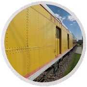 Railroad Train Round Beach Towel