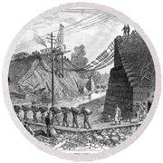 Railroad Washout, 1885 Round Beach Towel