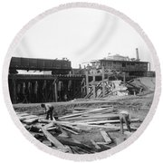 Railroad Workers, 1901 Round Beach Towel