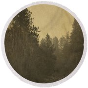 Rails In The Rogue Valley - Vintage Effect Round Beach Towel