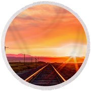 Rails To The Red Sky Round Beach Towel